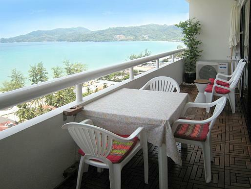 Elegant Patong Tower Apartment Balcony Dining Table Chairs